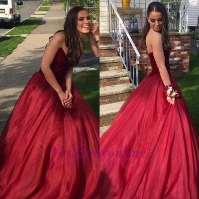 Sleeveless Ball-Gown Green Sweetheart Sexy Prom Dresses_1
