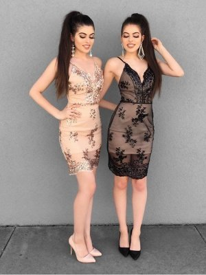 Sheath Bodycon Spaghetti Straps Lace Appliqued Homecoming dress_1