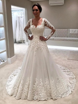 Glamorous Long Sleeves Wedding Dresses | Lace-Appliques Tulle Bridal Gowns_1