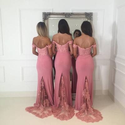 Beads Lace Off The Shoulder Cheap Bridesmaid Dress | Open Back Sexy Pink Maid of Honor Dresses BA9882_4