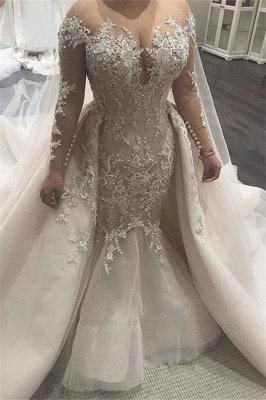 Elegant Mermaid Wedding Dresses with Tulle Overskirt | Sexy Lace Bridal Gowns with Train