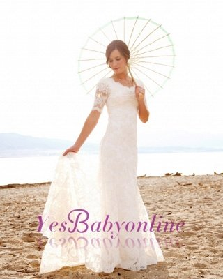 Scoop-Neck Short-Sleeves Sheath Style Lace Sweep Train Chic Wedding Dress_1