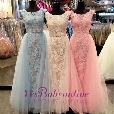 Elegant Lace Prom Dresses Scoop Neck with Overskirts Beading Belt Wedding Guest Dresses_1