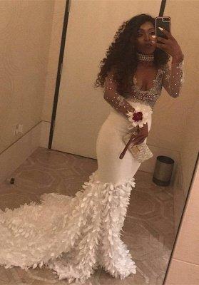V-Neck Long-Sleeve Beadings Gorgeous Mermaid Prom Dress_2