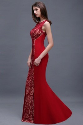 Floor-Length Red Sexy Mermaid Sleeveless Lace Long Zipper Evening Gown_4