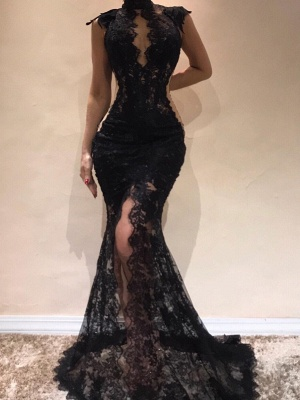 Sexy Black Lace Mermaid Evening Dresses | High Keyhole Neck Sheer Slit Prom DressesBC0513_1