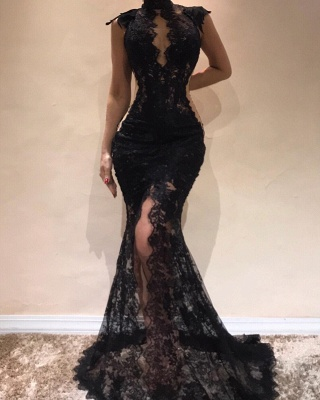 Sexy Black Lace Mermaid Evening Dresses | High Keyhole Neck Sheer Slit Prom DressesBC0513_3