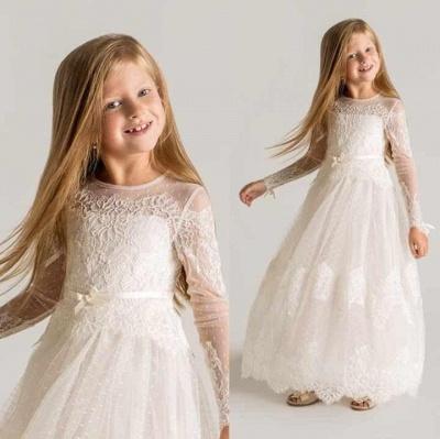 Lovely Tulle Lace A-line Long Sleeves Flower Girl Dress_2