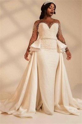 Elegant Jewel Long Sleeve Illusion Tulle Pearls Sash Sheath Wedding Dresses With Detachable Train