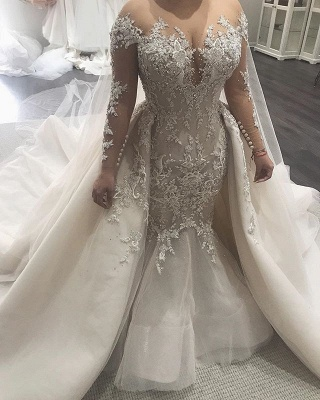 Elegant Mermaid Wedding Dresses with Tulle Overskirt | Sexy Lace Bridal Gowns with Train_3