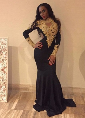 Gold Appliques High Neck Prom Dresses | Long Sleeves Black Mermaid Dress_1