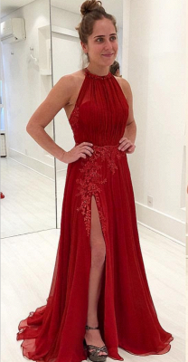 Sexy  Sleeveless Evening Gowns | Appliques Halter Split Prom Dresses_4