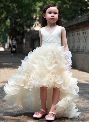 Sweet V-Neck Organza Princess Girl Dress | Bowknot Hi-Lo Sleeveless Flower Girl Dresses_1
