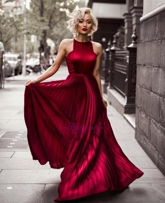 Jewel Sleeveless Dresses Sheath Floor Burgundy Length Prom Pleats Evening Dresses_1