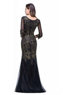 Black Appliques Scoop Mermaid Sleeves Prom Dresses with Beadings_3