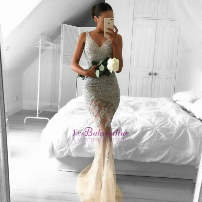 Sleeveless Beads Straps Glamorous Sexy Mermaid Mesh Lace Appliques-Appliques Evening Dress_1