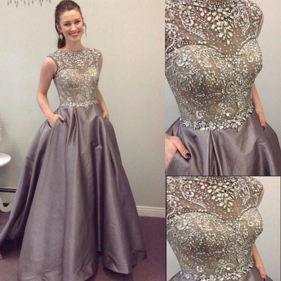 Luxury Crystals Prom Dresses with Pockets A-line Puffy Evening Gowns_3