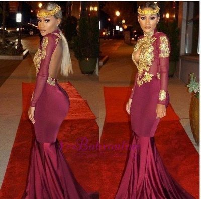 Open-Back Keyhole Mermaid Burgundy Gold-Appliques Long-Sleeves Prom Dresses_1