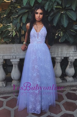Newest Lace White V-neck A-line Sleeveless Prom Dress_1