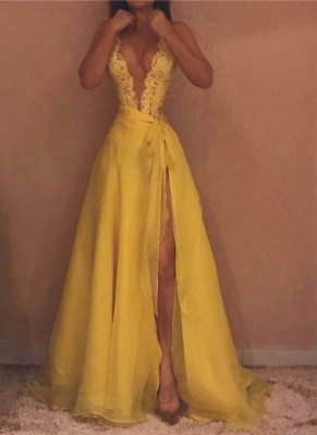 Sexy V-Neck Prom Dresses | Sleeveless A-Line Yellow Evening Gowns_1