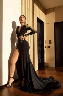 Black V-neck Mermaid Prom Dresses | Appliques Slit Long Evening Gowns_4