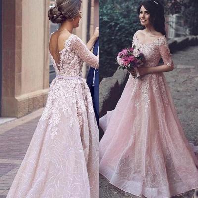 A-Line Pink Long Applique  Half-Sleeve Prom Dresses_4