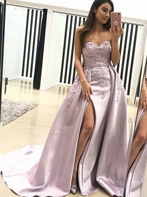Sexy Strapless Prom Dresses with Appliques | Sweetheart Side Split Evening Gowns_1