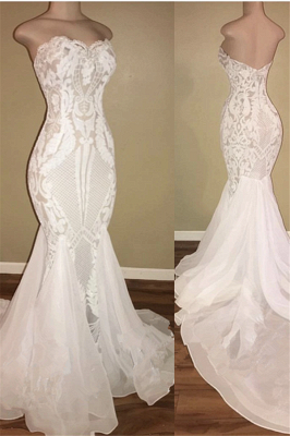 Sexy Sweetheart Fitted Backless Lace Fit And Flare Mermaid Wedding Dresses_1