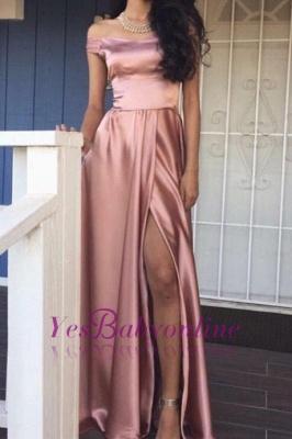 Off-the-Shoulder Front-Slit Rose Pink Shiny A-line Prom Dresses_1
