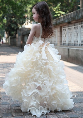 Sweet V-Neck Organza Princess Girl Dress | Bowknot Hi-Lo Sleeveless Flower Girl Dresses_3