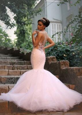 Glamorous Lace Beaded Wedding Dresses   Sexy Mermaid Tulle Bridal Dress WE0010_1