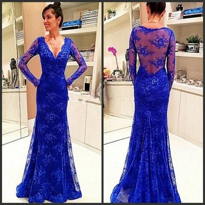 Lace Rpyal-Blue Elegant Long-Sleeve Evening Dress_3