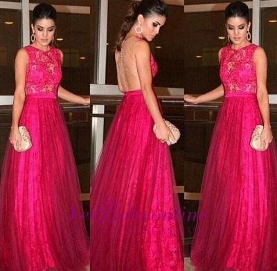 Zipper Sleeveless Jewel Lace Newest A-line Evening Dress_1
