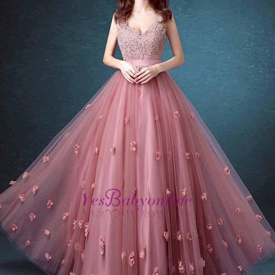 Beaded Lace Long Sleeveless A-line Floral-Appliques Prom Dresses_1