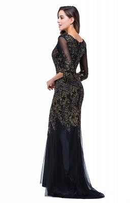 Black Appliques Scoop Mermaid Sleeves Prom Dresses with Beadings_6