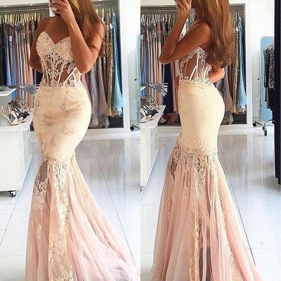 Appliques Long Lace Mermaid Sweetheart Stunning Prom Dress_3