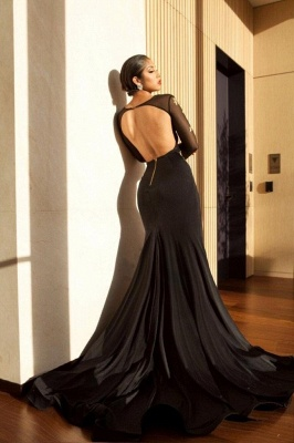 Black V-neck Mermaid Prom Dresses | Appliques Slit Long Evening Gowns_3