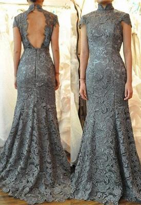 Elegant Cap Sleeves Floor Length Mermaid Lace Mother of Bride Dresses_1