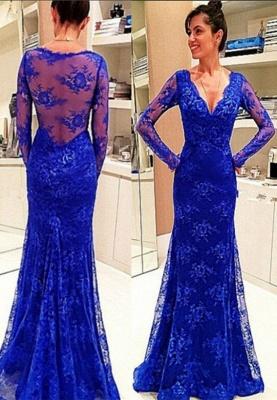 Lace Rpyal-Blue Elegant Long-Sleeve Evening Dress_2