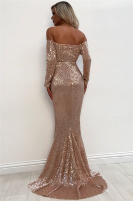 Off-the-shoulder Sweetheart Long Sleeve Backless Sequined Mermaid Prom Dresses_3