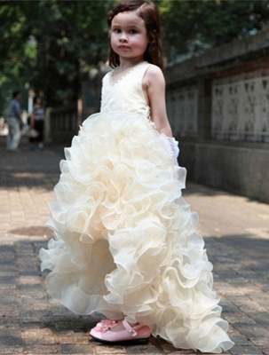Sweet V-Neck Organza Princess Girl Dress | Bowknot Hi-Lo Sleeveless Flower Girl Dresses_4