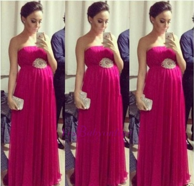 Strapless Pregnant Empire Floor-length Sleeveless Chiffon Simple Evening Dress_3