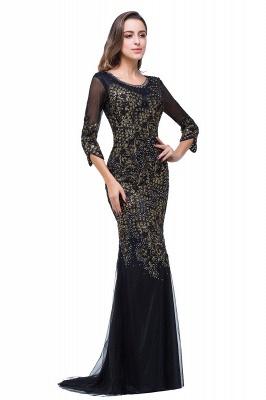 Black Appliques Scoop Mermaid Sleeves Prom Dresses with Beadings_5