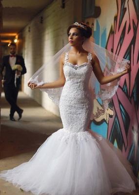 Glamorous Lace Beaded Wedding Dresses   Sexy Mermaid Tulle Bridal Dress WE0010_8