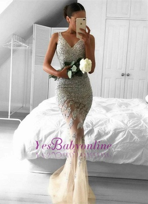 Sleeveless Beads Straps Glamorous Sexy Mermaid Mesh Lace Appliques-Appliques Evening Dress_2