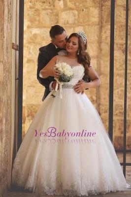 Ball-Gown Glitter See Through-Neck Beaded-Belt Wedding Dresses_1