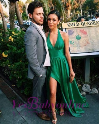 Sexy Green Prom Dresses A-Line Side Slit Halter V-Neck Party Dresses_1
