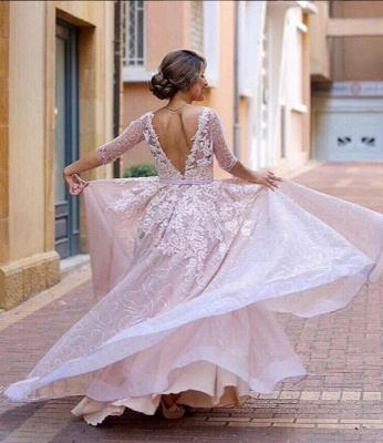A-Line Pink Long Applique  Half-Sleeve Prom Dresses_5