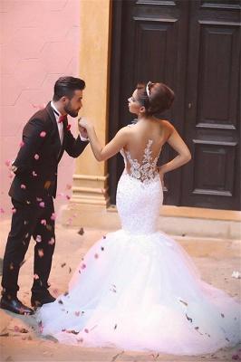Glamorous Lace Beaded Wedding Dresses   Sexy Mermaid Tulle Bridal Dress WE0010_5
