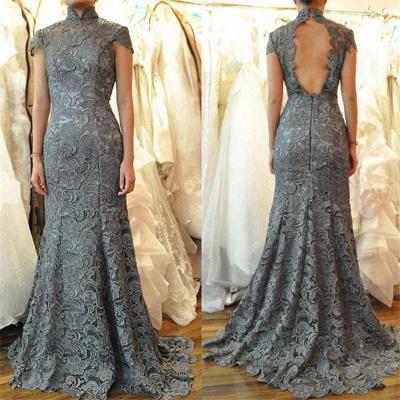 Elegant Cap Sleeves Floor Length Mermaid Lace Mother of Bride Dresses_3